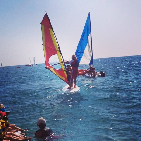 Wind Surfing with Childcare Staff in Sardinia