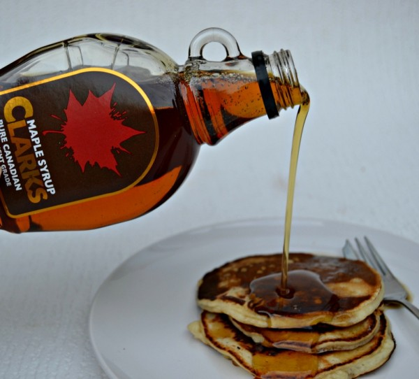 American Pancakes with Clarks Pure Canadian Maple Syrup No 1 Light Grade