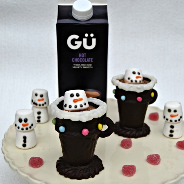 Gu Hot Chocolate in Edible Chocolate Cup with Marshmallow Snowman