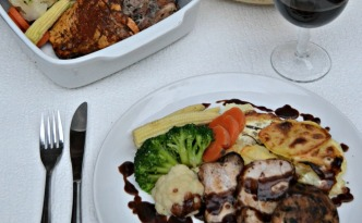 Roasted Garlic and Thyme Pork with Red Wine Jus