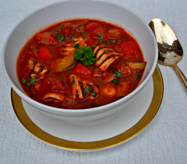 Chunky Mediterranean Vegetables and Chicken Soup Recipe